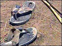 The used sandals...