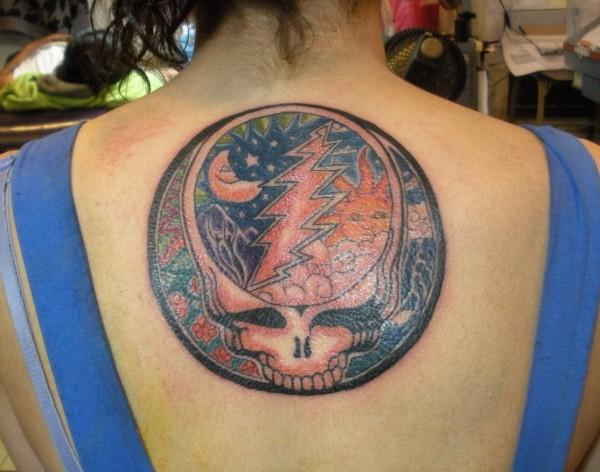 Grateful Dead Tattoos: GD Tattoo #91 Steal Your Face w/ Sun, Moon, and Stars