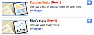 Popular Posts and Blog's Stats gadgets for Blogger