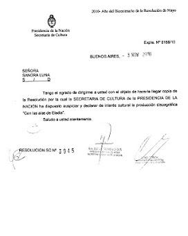 """""""Con las Alas de Eladia"""" Declarado de Interés Cultural por la Secretaría de Cultura de la Nación"""