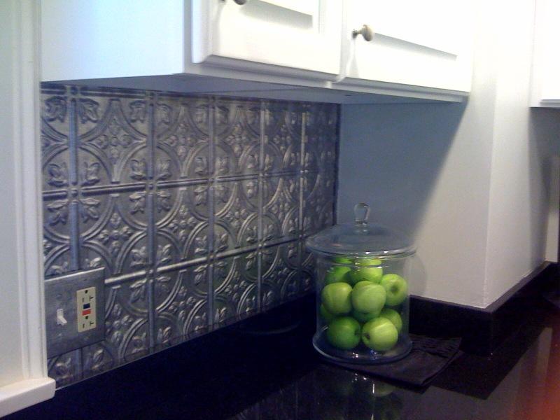 to z a is for accomplished tin tile backsplash revealed