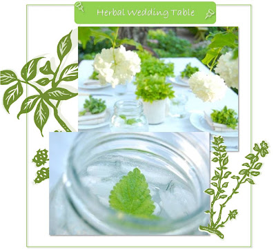 herbal wedding theme decorated table