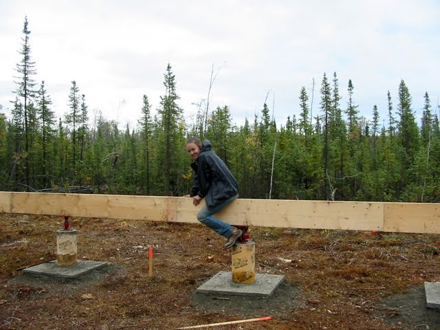 Off grid in alaska cabin building day 14 15 for Cabin foundation piers