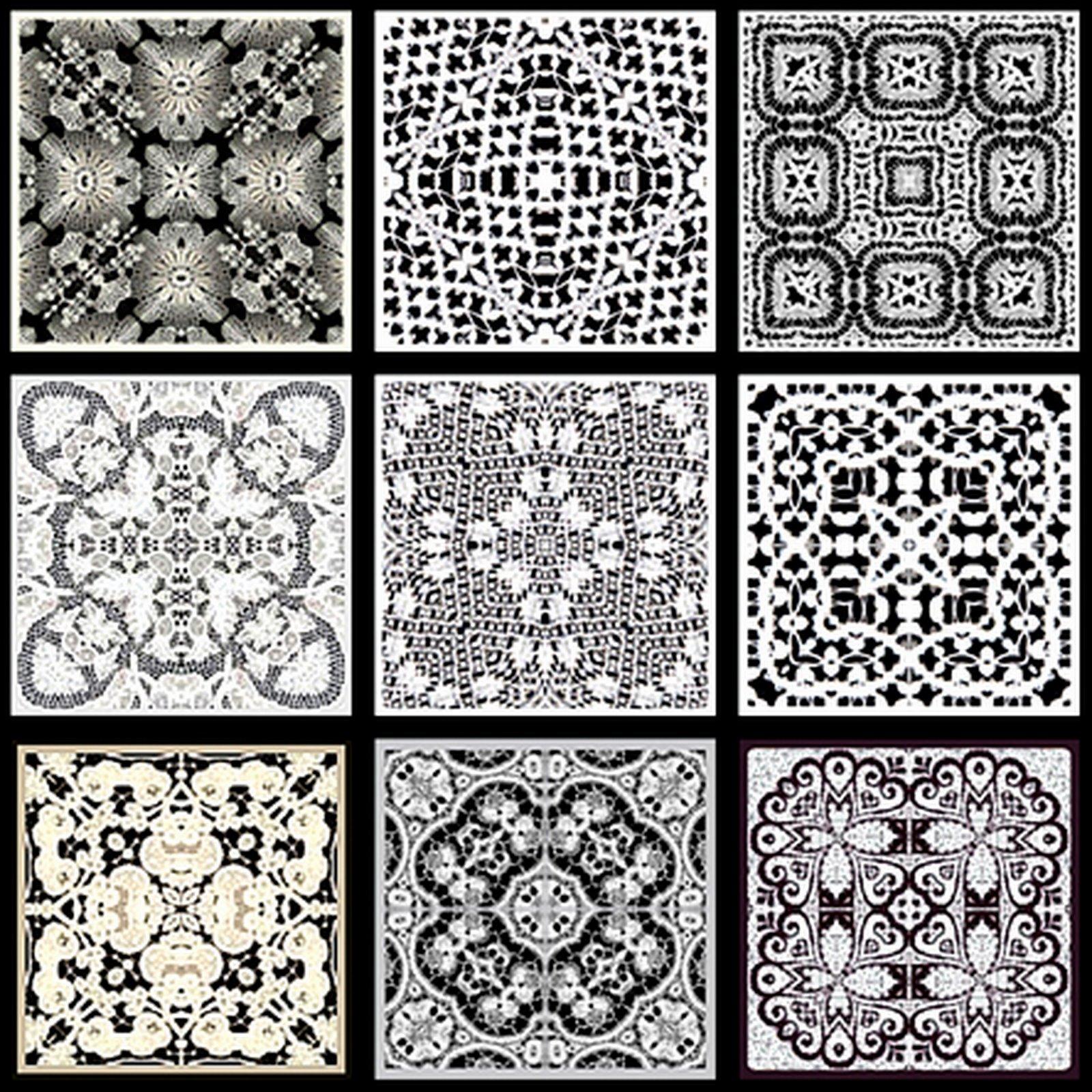 ... - Tea Bag Tiles: Block of nine Tea Bag Tiles in black and white