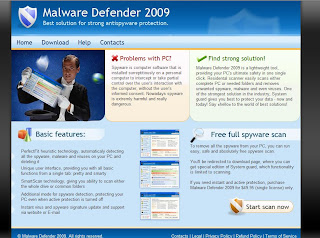 MalwareDefender2009.com - Site screenshot