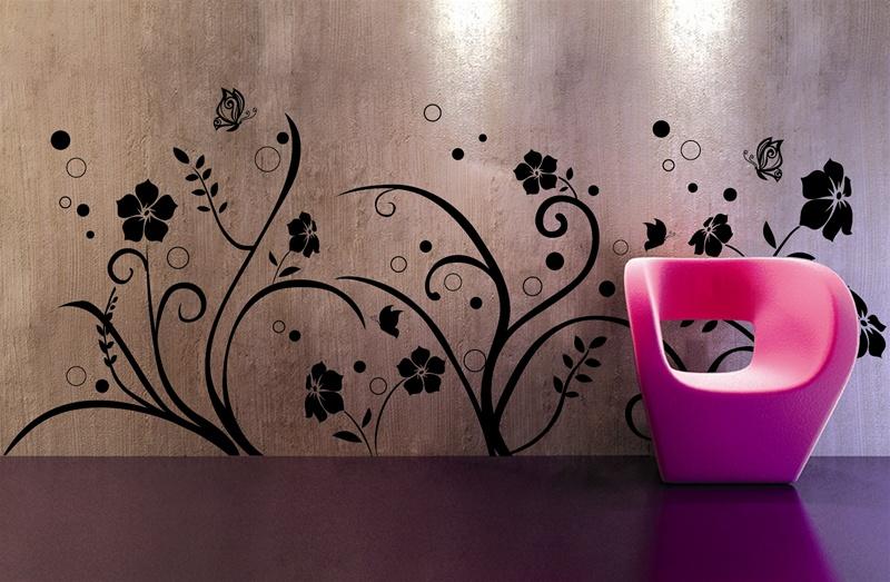 Çiçek desenli dekoratif duvar stickerları modelleri trend yeni moda
