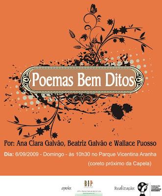 bip cultural poemas bem ditos por Ana Clara Galvão, Beatriz Galvão e Wallace Puosso