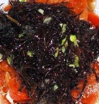 Alga mauro, peperoni, sedano un idea di scalogno e dressing di citronette con qualche goccia di ace