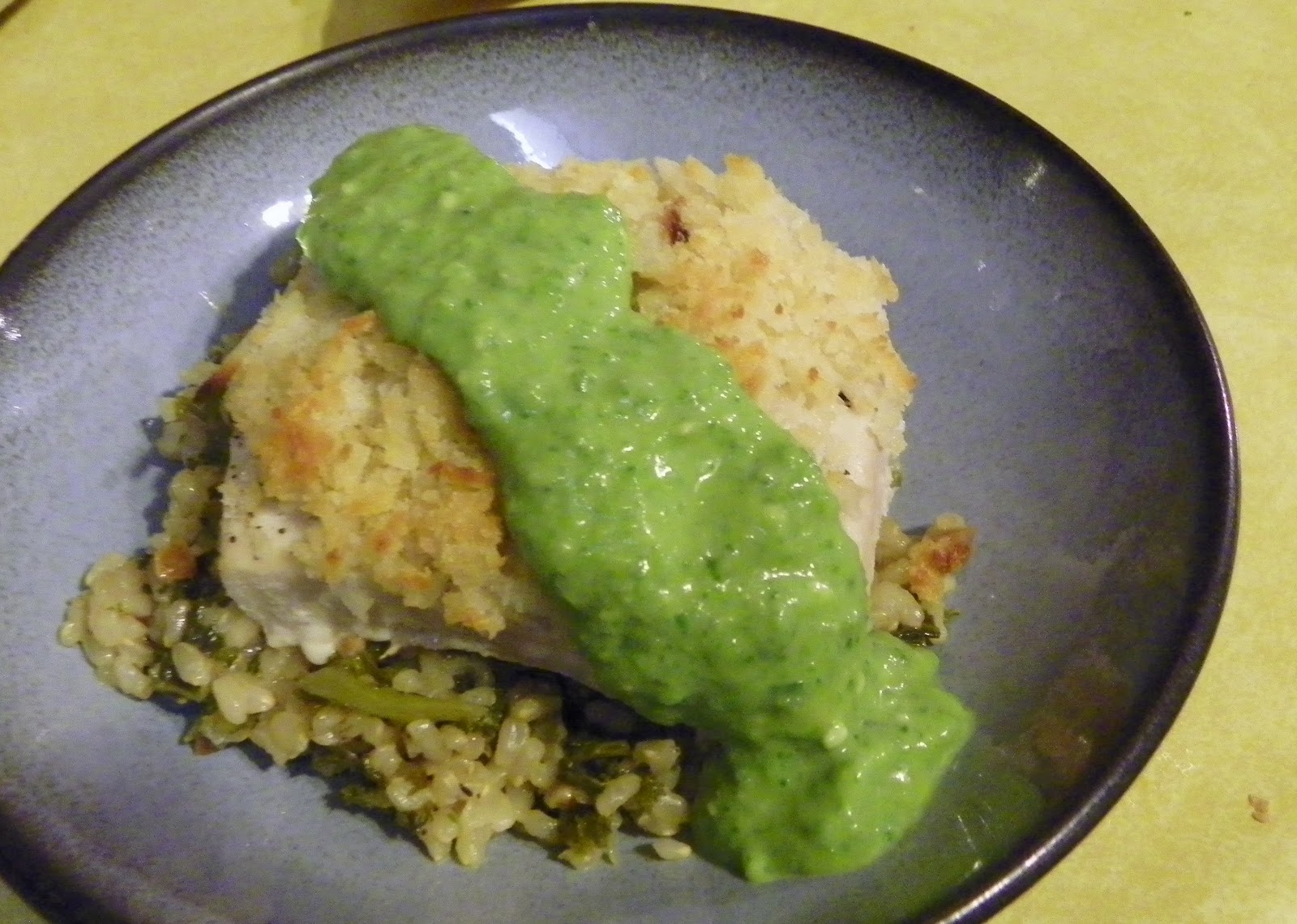 Coconut Crusted Mahi Mahi with peanut rice and poblano avocado sauce