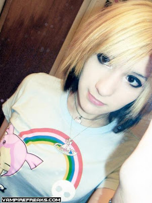 short-ish emo brown hair