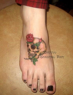 Foot Tattoo Designs: flower skull tattoo. Foot Chimonathus Praecox Tattoos