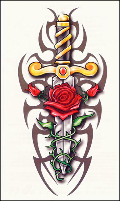 red rose tattoo. rose and heart tattoos.