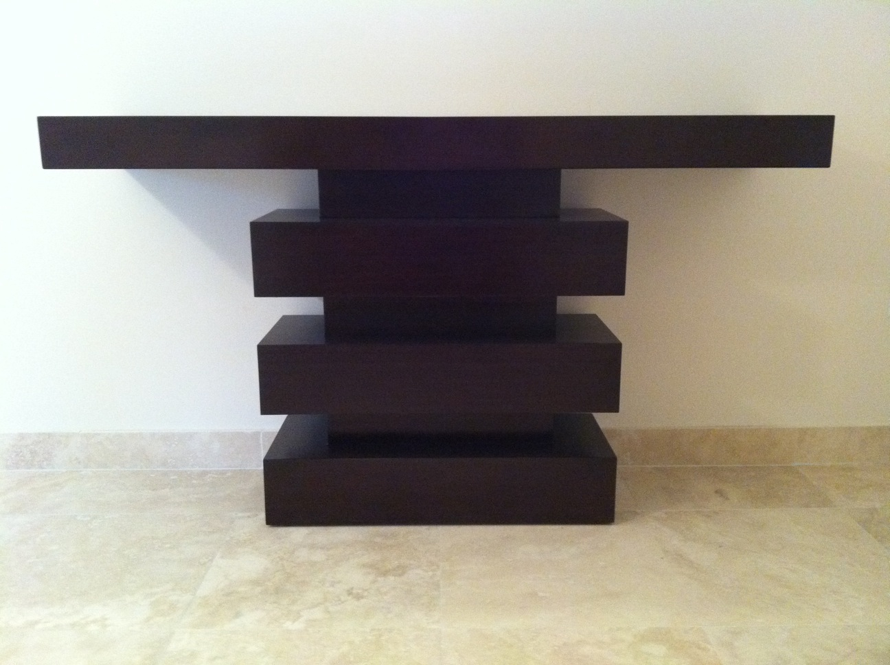 modern dark wood console table