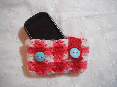 """Knit Cell Phone Cover"" Knitted Las' Misc. Accessory Pattern by"