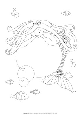 Sweet Little Parties free printable mermaid colouring page