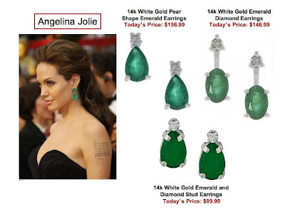 angie+earrings Angelinas Oscar Emerald Earrings for Less: A Few Options in Unlikely Places