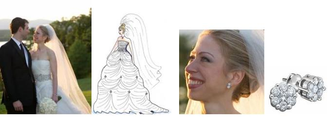 chelsea clinton wedding dress david. Pictured: A dress and earrings