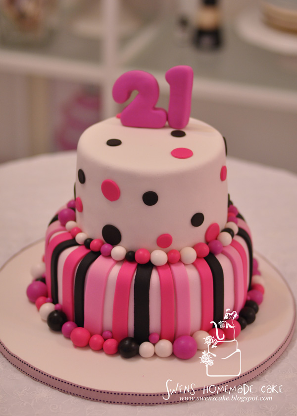 Birthday Cake Designs For 21st Birthday : Creative/Custom made: 21st Birthday Cake (Pink Design)
