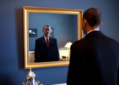 obama looking at a mirror