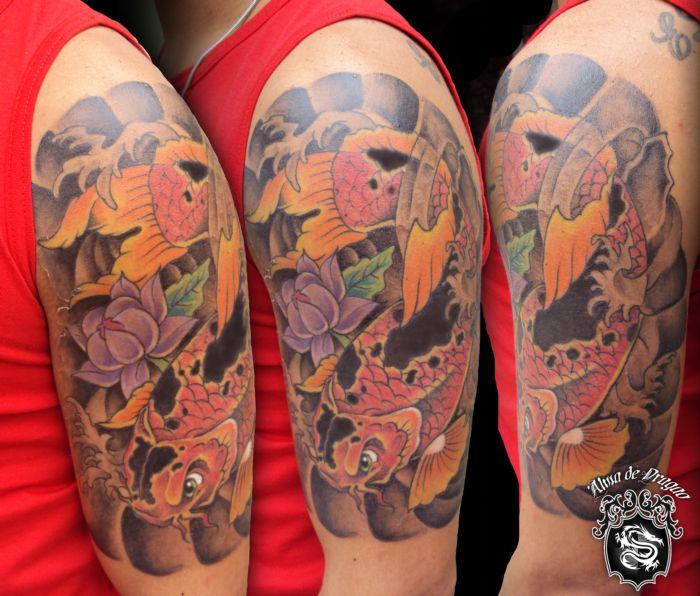 carpa braço. tattoo feita em tres sessões de 2:00 horas cadavlw