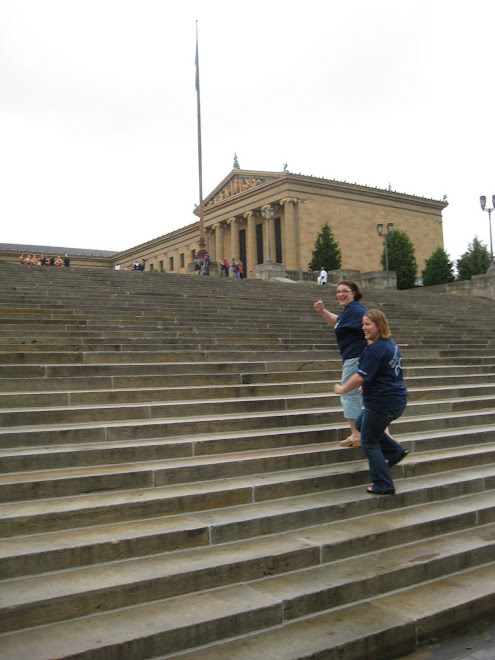 "Running up the stairs from the movie ""Rocky"""