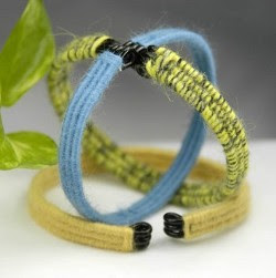 summer bracelets in blue, yellow, green