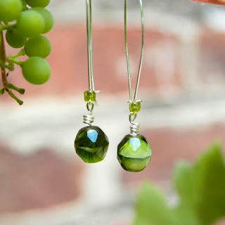 Green Grapes Earrings Antique Glass