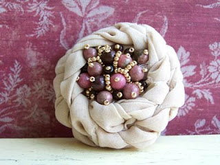 blooming flower fabric brooch