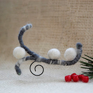 white frosted berry felt pin