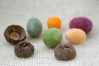 felted acorns multicolor
