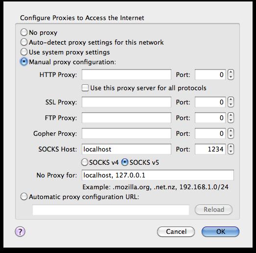 Ekran görüntüsü, Firefox'un ayarlar ekranı, Manual Proxy Configuration bölümü