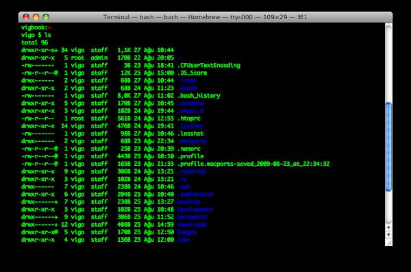 Ekran görüntüsü: Terminal'de ls çıktısı