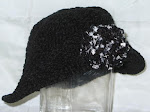 Black Chenille Hat w/ Flower