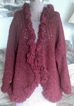 Burgandy Ruffled Cardigan