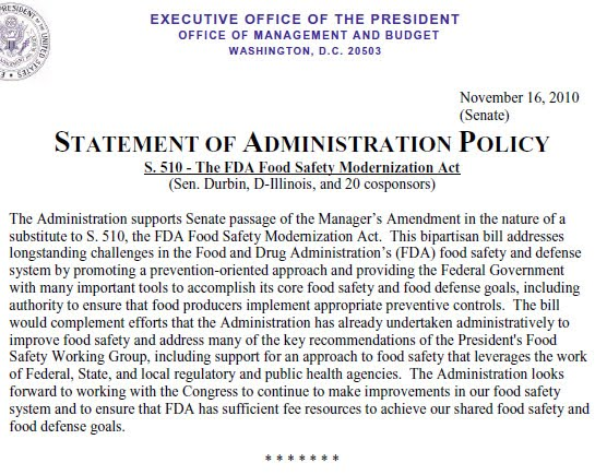 Food Safety Modernization Act Controversy