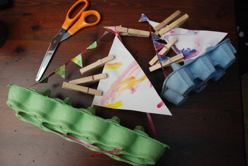 Egg Carton Craft Idea Boats