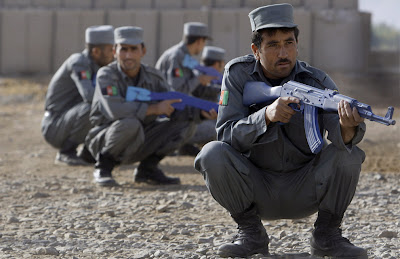 Afghanistan police with rubber guns