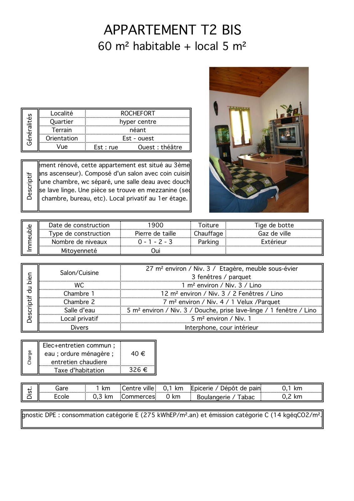 appartement t2bis rochefort louer fiche technique. Black Bedroom Furniture Sets. Home Design Ideas
