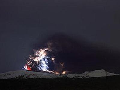 national geographic iceland volcano lightning. Lightning flashes over