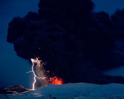 iceland volcano lightning. Lightning electrifies volcano