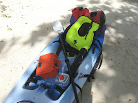 Front view of packed kayak