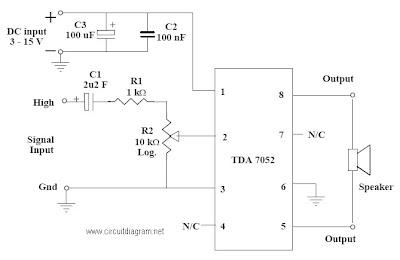 tda 7052 mono amplifier schematic diagram gambar skema rangkaian rh skema rangkaian elektronika blogspot com