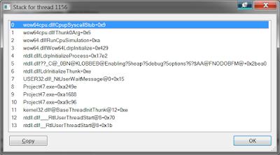 Стек приложения Delphi в Process Explorer