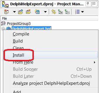 Установка пакета (эксперта) из менеджера проектов