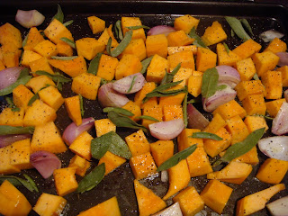 Pumpkin, shallots, and sage