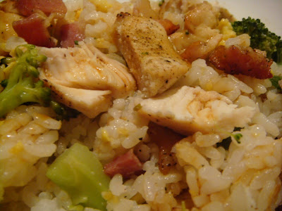 chicken, bacon, scallions, and broccoli with egg-fried rice