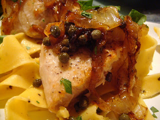 Lemon-caper swordfish with lemon-pepper pappardelle