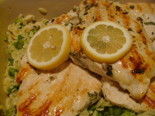 Lemon-oregano grilled chicken with feta and orzo