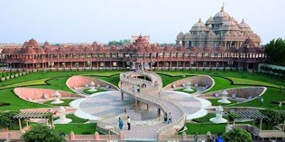 Picture of Lotus Garden at Delhi Akshardham Temple India