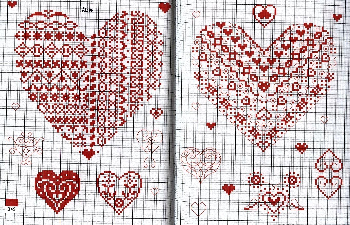 Вышивка сердечко из цветов схема